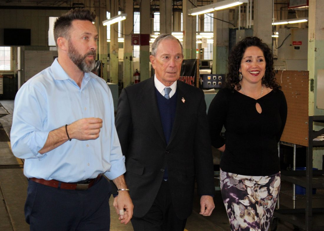 Telegraph photo by DEAN SHALHOUP Aaron and Adria Bagshaw, owners of Nashua  firm WH Bagshaw Co., escort former New York mayor Michael Bloomberg through  the ...