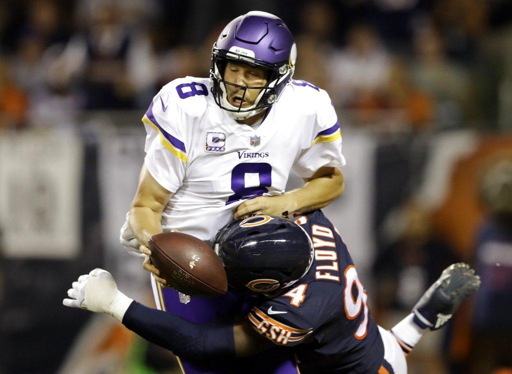 2e8ba637abd Chicago Bears outside linebacker Leonard Floyd (94) tackles Minnesota  Vikings quarterback Sam Bradford (8) for safety during the first half of an  NFL ...
