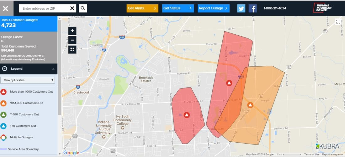 Indiana And Michigan Power Outage Map.Updated Nearly 5 000 Indiana Michigan Power Customers Without