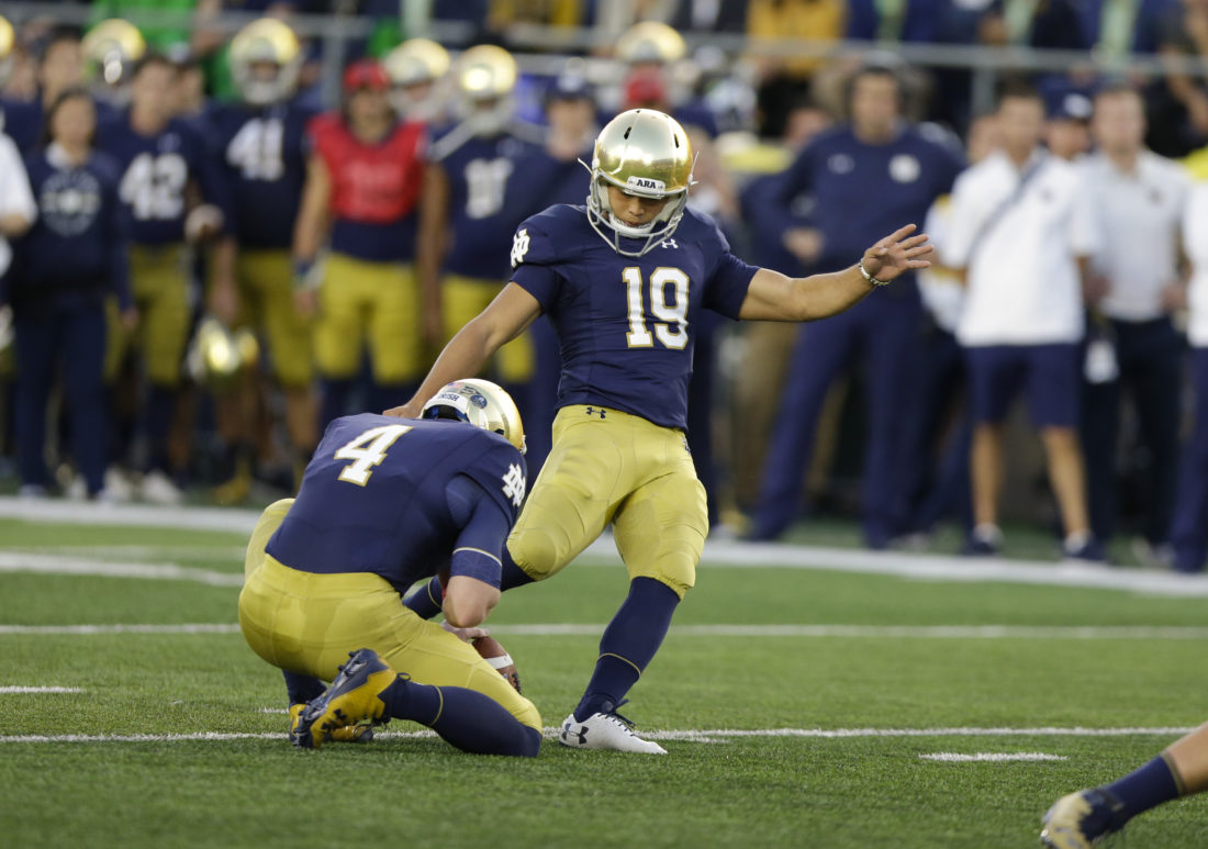 Notre Dame has some worries but its kicking game isn't among them | News, Sports, Jobs - News-Sentinel