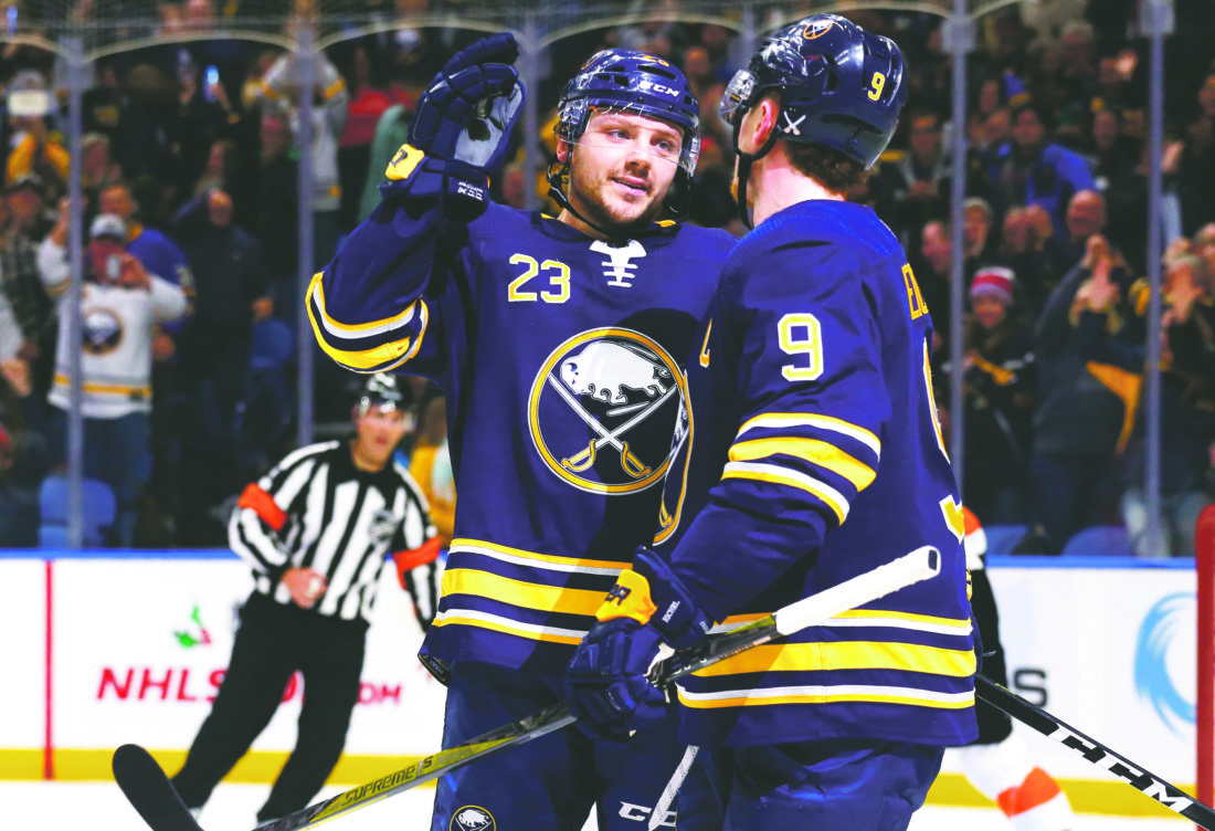 b8a554b29 AP Photo Buffalo Sabres forwards Sam Reinhart (23) and Jack Eichel (9)  celebrate a goal during the third period of a game against the Philadelphia  Flyers, ...