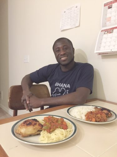 Joshua Okrah displays an afternoon's work in the kitchen. Photos by Beverly Kehe-Rowland