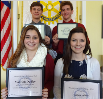 """At its March 21 meeting, the Rotary Club of Westfield-Mayville recognized, front, from left, Madison Dudley of Chautauqua Lake Central School and Sydnee Abele of Westfield Academy and Central School; pictured in back, from left, are Kasen Jewell of Brocton Central School and Thomas Johnston, also of Brocton Central School as """"Scholars of the Month."""""""