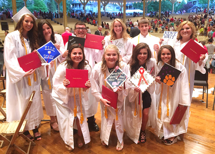 JHS Class Officers celebrate after receiving their diplomas at the 2016 JHS Commencement Ceremony. Pictured, front row, are Abigail Todaro, Sydney Deppas, Emily Isaacson and Karighan Alicea-Walker. In back are Allison Boskat, Luci Ellis, Cameron Hurst, Kate Tucker, Matt Elia & Maddie Dineen