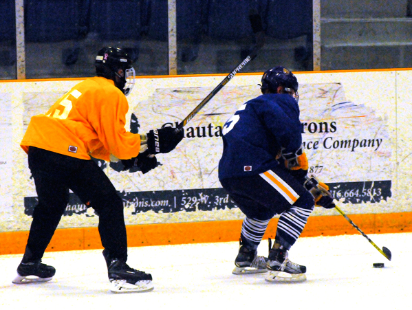 Nate Paar of Olean skates away from a defender during Sunday's second scrimmage. P-J photo by Matt Spielman
