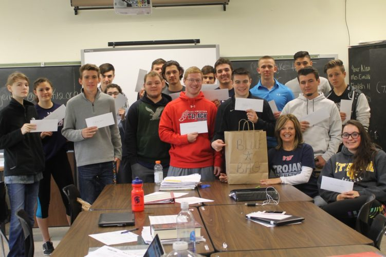 With letters in hand, pictured from left, are: Miranda Bull, Sierra Wells, Lake Sivak, Michael Houser, Amelia Thorp, Michael Hinsdale, Seth Gibson, Ryan Pascarella, Casey Williams, Tjitze Kranzo, Wyatt Perry, Reid Gustafson, Clayton Hanson, Mrs. Eimiller, Druex Seeley, Sebastian Diaz, Devin Ardnt and Carolyn Ruby.