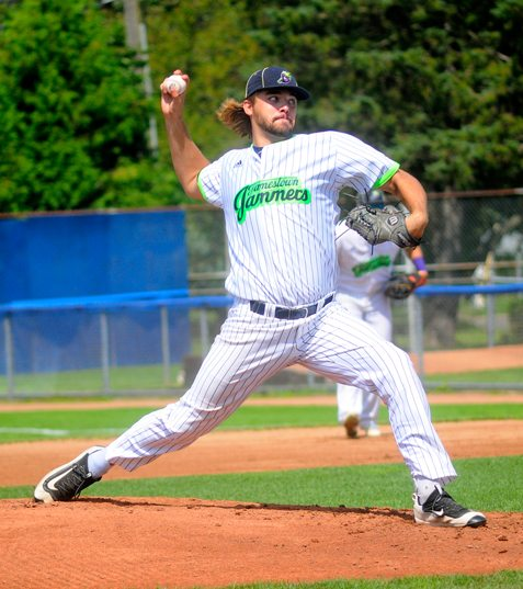 Jamestown starting pitcher Chris Vallimont delivers to the plate during the first inning of Sunday's Perfect Game Collegiate Baseball League game at Diethrick Park. P-J photo by Matt Spielman