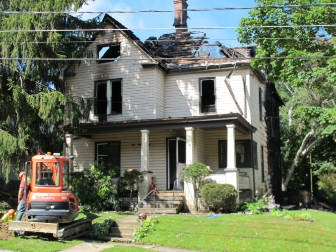 The American Red Cross said it assisted several residents that were displaced by a fire that broke out at a Linwood Avenue property early Tuesday in Jamestown. The fire, which was ruled accidental, was reported around 2 a.m. and originated on a porch of the residence.  P-J photo by Gavin Paterniti