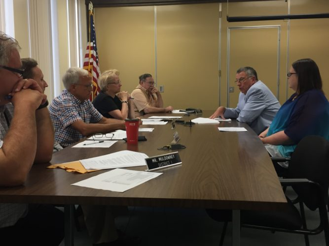 County Executive Vince Horrigan discusses why he's proposing to give $100,000 to the Chautauqua Lake and Watershed Management Alliance during Thursday's Audit and Control Committee meeting.  P-J photo by Jimmy McCarthy