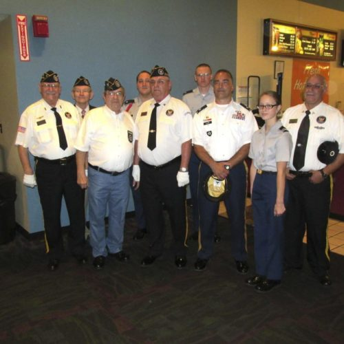 "Color Guard members gather Friday before the premiere of the movie ""Dunkirk"" at the Movie Plex in Dunkirk. About 20 veterans attended the premiere.  P-J photo by Damian Sebouhian"