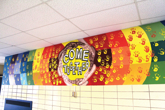PHOTO PROVIDED Recent South Williamsport Area High School graduates created the mural at Central Elementary School.