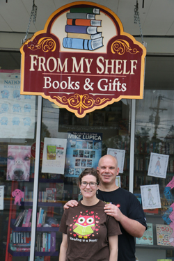 """PHOTO PROVIDEDKasey and Kevin Coolidge stand outside of their bookstore, From My Shelf Books & Gifts in Wellsboro. The Coolidges are running a contest for someone to """"win"""" their store."""