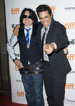 """Tommy Wiseau, left, and James Franco attend a premiere for """"The Disaster Artist"""" on day 5 of the Toronto International Film Festival at the Ryerson Theatre on Monday, Sept. 11, 2017, in Toronto. (Photo by Arthur Mola/Invision/AP)"""