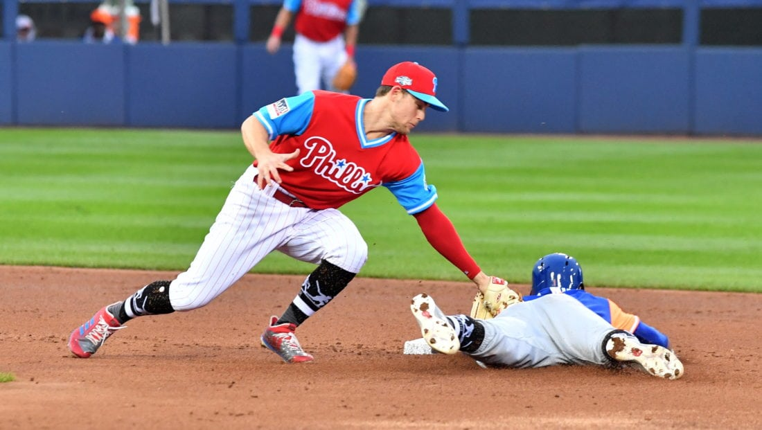 d169c7f57 ... Scott Kingery tags out the New York Mets  Amed Rosario on an attempted  steal in the second inning at Bowman Field during the MLB Little League  Classic.