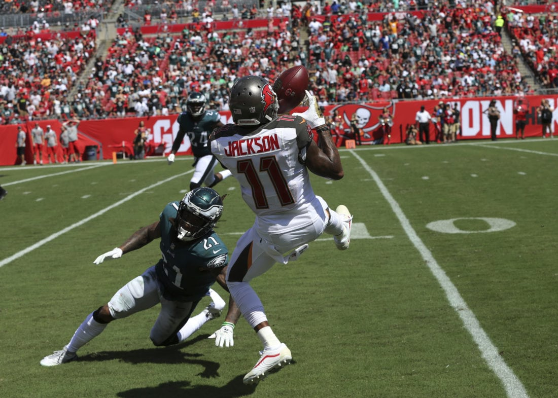 c3f15f614886f2 Tampa Bay Buccaneers wide receiver DeSean Jackson (11) grabs a pass over Philadelphia  Eagles cornerback Ronald Darby (21), during the second half of an NFL ...