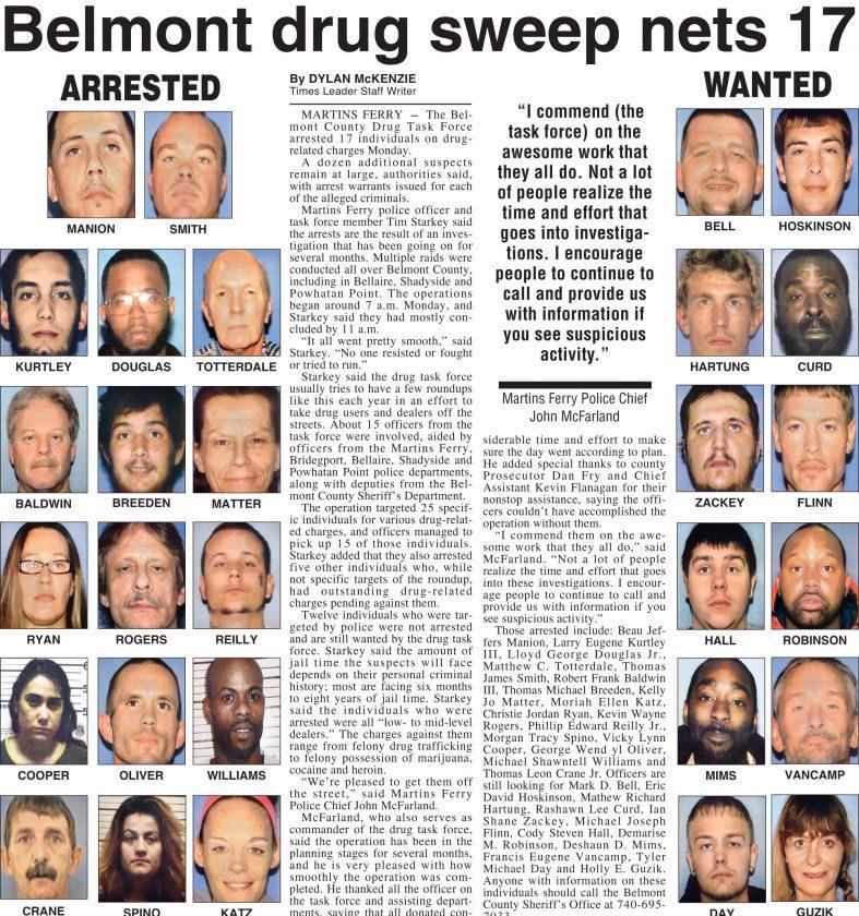 Belmont County Drug Task Force Makes 17 Arrests | News