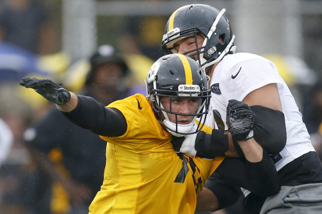 363e54df3 Pittsburgh Steelers linebacker T.J. Watt (90) tries to get around a block  by tackle Alejandro Villanueva (78) during practice at NFL football training  camp ...