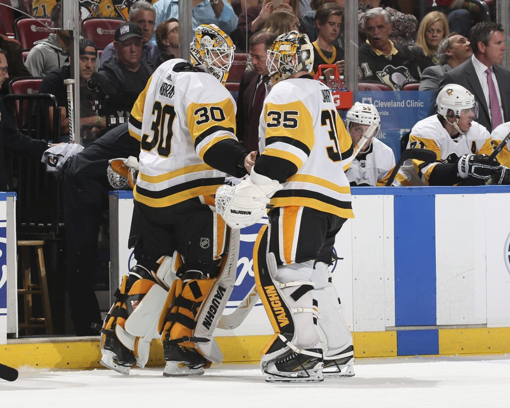a4bf278f9c4 Pittsburgh Penguins goaltender Matt Murray (30) replaces goaltender Tristan  Jarry (35) during the second period of an NHL hockey game against the  Florida ...