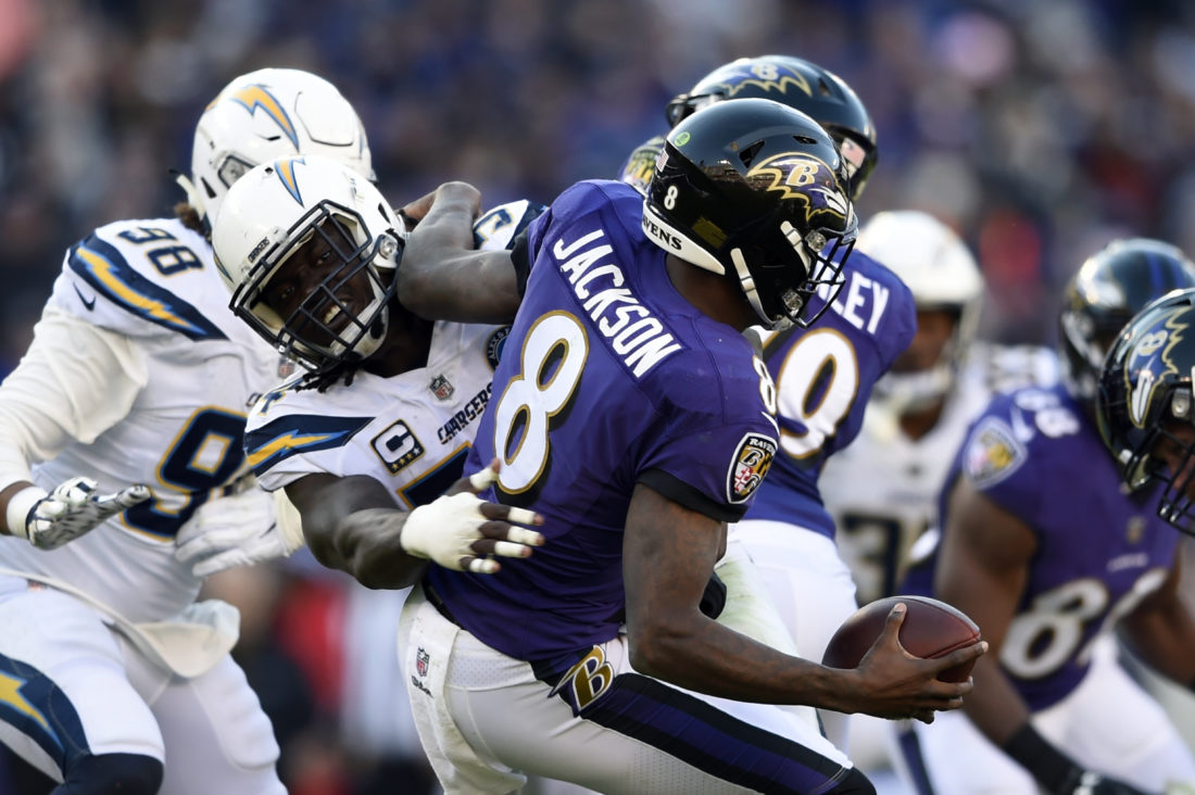 Baltimore Ravens quarterback Lamar Jackson (8) is sacked by Los Angeles  Chargers defensive end Melvin Ingram in the second half of an NFL wild card  playoff ... a8a2be0f9c9
