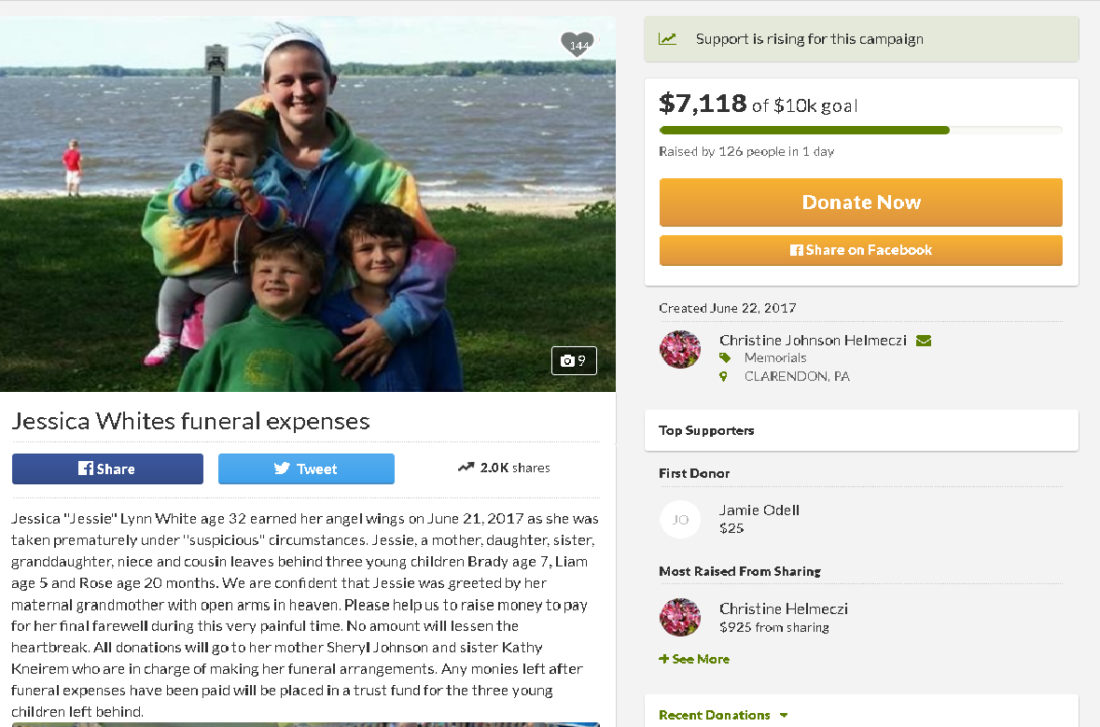 gofundme com campaign set up for funeral expenses for victim news