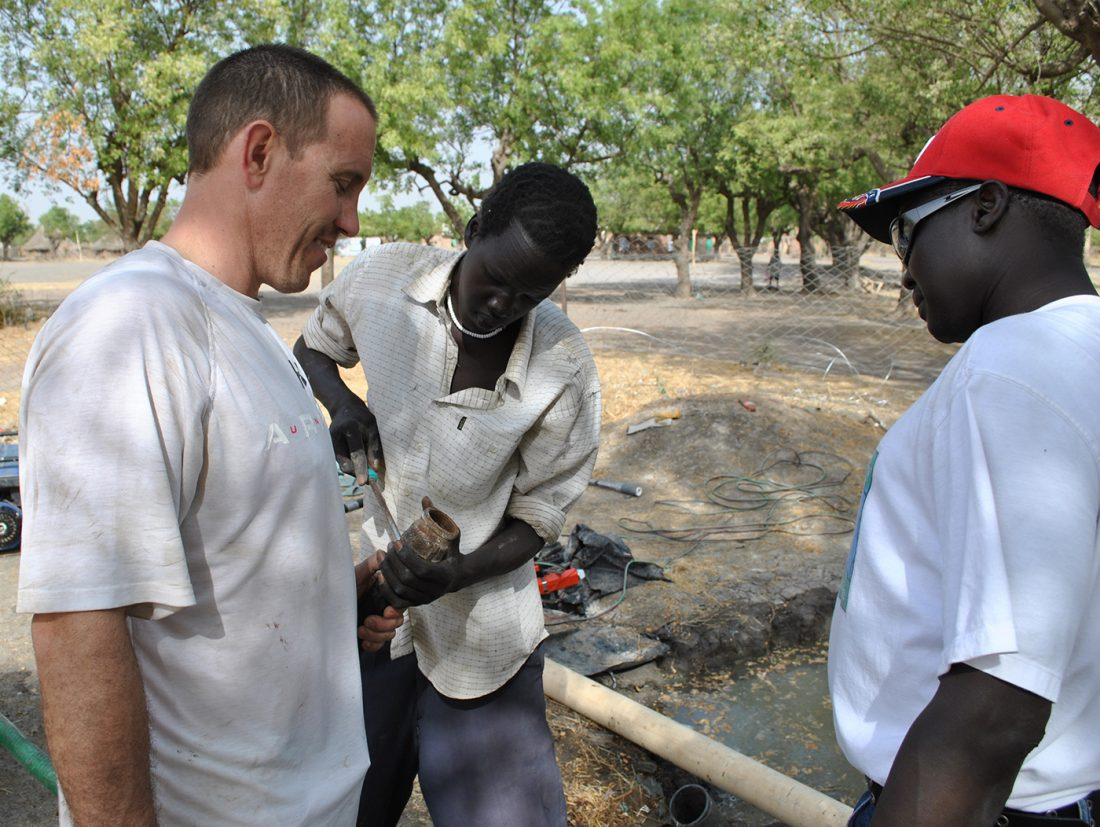 State Center-based clean water team building wells in South Sudan