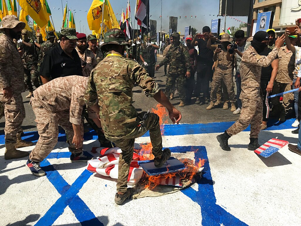 Fri  8:49 a m : Protesters in Iran, Iraq burn Israel, US