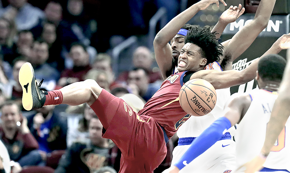 Cleveland Cavaliers  Collin Sexton (2) loses control of the ball in the  second half of an NBA basketball game against the New York Knicks 58b6dac59