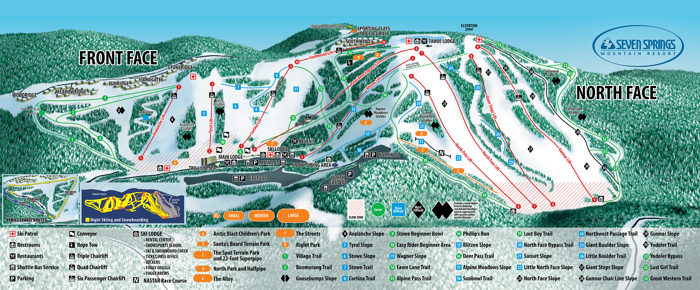 Trail Map PA Pennsylvania Ski Resort Four Season Resort - Western us ski resorts map