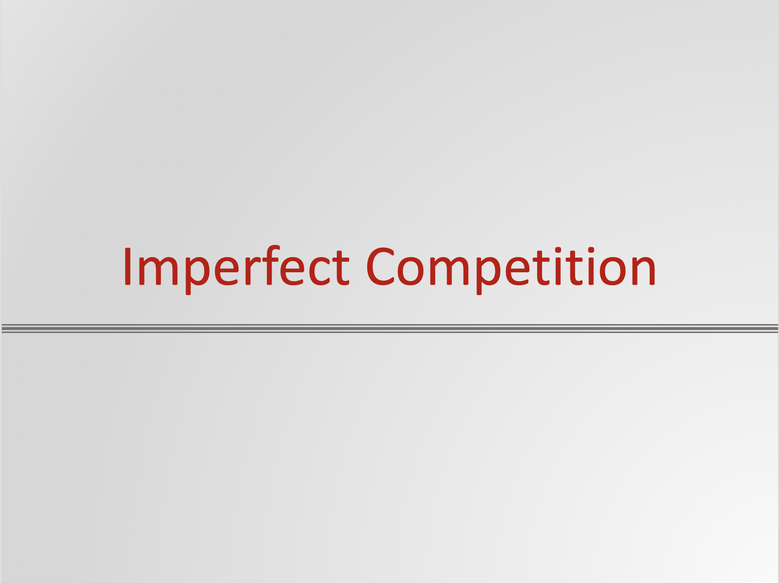 Imperfect Competition Resources