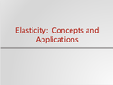 Elasticity: Concepts and Applications Resources
