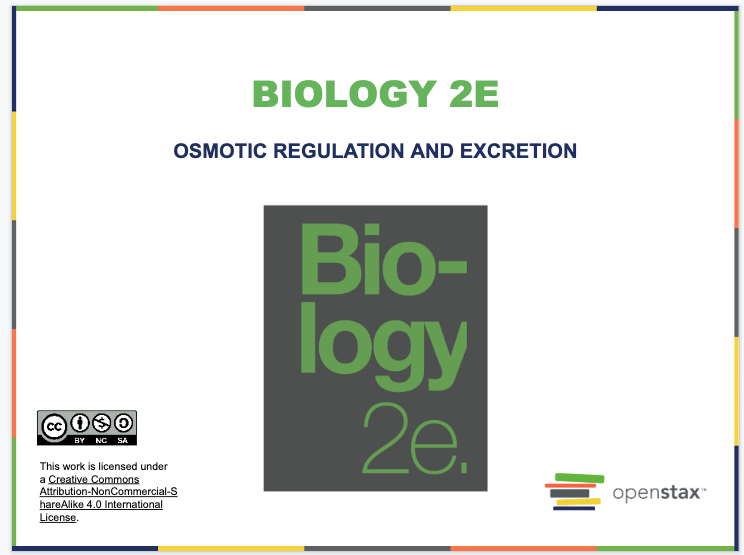 Osmotic Regulation and Excretion Resources