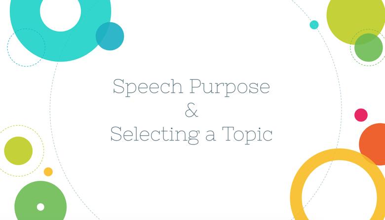 Speech Purpose & Selecting a Topic
