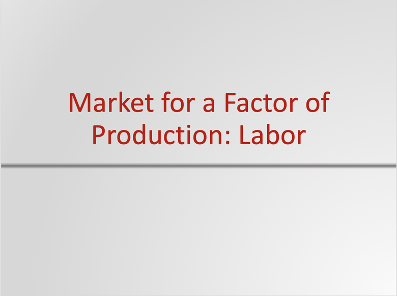 Markets for the Factors of Production Resources