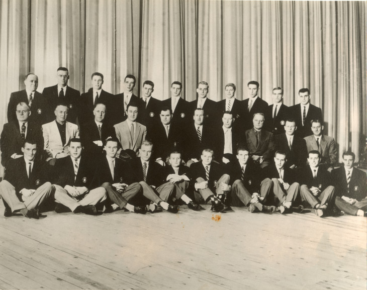 Ron Mason (front row, 4th from right) with the 1956-57 Petes team.