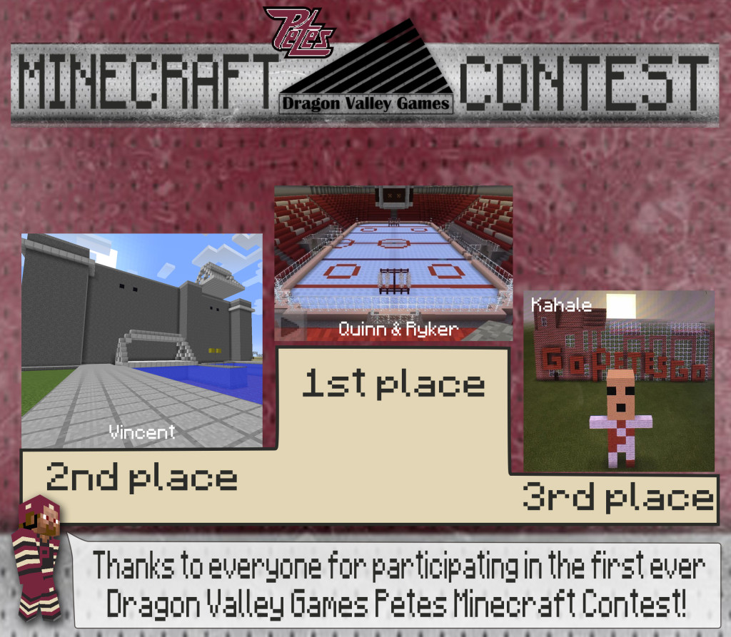 Winners Announced in Dragon Valley Games Petes Minecraft