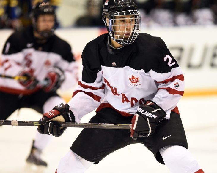 Jonathan Ang of the Peterbrough Petes represented Team Canada White in the 2014 World Under-17 Hockey Challenge in Sarnia and Lambton, ON November 2-8, 2014. Photo by Aaron Bell/CHL Images