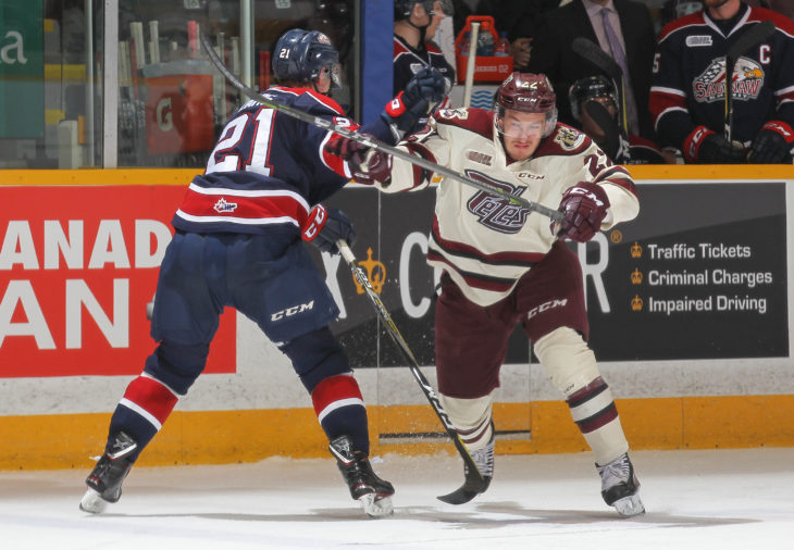 PETERBOROUGH, ON - OCTOBER 26:  of the Saginaw Spirit skates against the Peterborough Petes in an OHL game at the Peterborough Memorial Centre on October 26, 2017 in Peterborough, Ontario, Canada. (Photo by Claus Andersen/Getty Images)