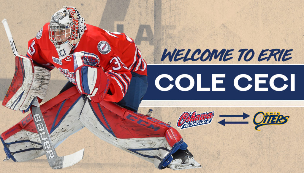 Otters Acquire Goaltender Cole Ceci From Generals Erie Otters