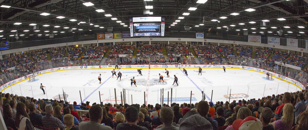 A picture of the Flint Firebirds Hockey Club arena in the OHL. The Dort Federal Event Center.