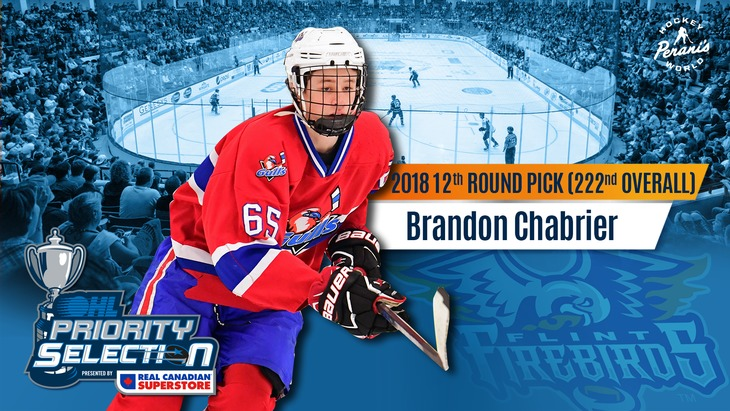 Brandon Chabrier Flint Firebirds OHL Hockey