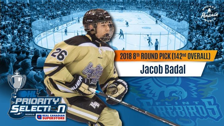 Jacob Badal Flint Firebirds OHL Hockey