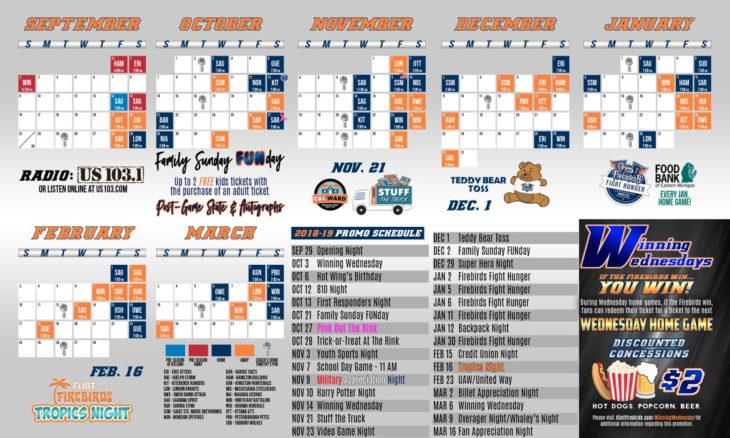 Flint Firebirds Hockey Pocket Schedule
