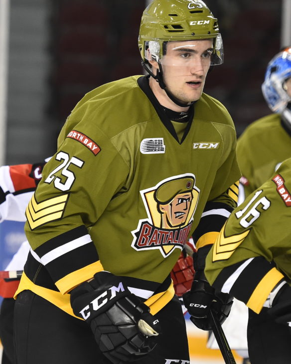 Mark Shoemaker of the North Bay Battalion. Photo by Aaron Bell/OHL Images