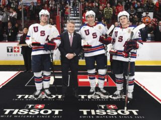 VANCOUVER, BC - JANUARY 4: USA's Ryan Poehling #11, Jason Robertson #15 and Mikey Anderson #26 were named the Top Three Players for their team following a 2-1 semifinal round win against Russia at the 2019 IIHF World Junior Championship at Rogers Arena on January 4, 2019 in Vancouver, BC Canada. (Photo by Matt Zambonin/HHOF-IIHF Images)
