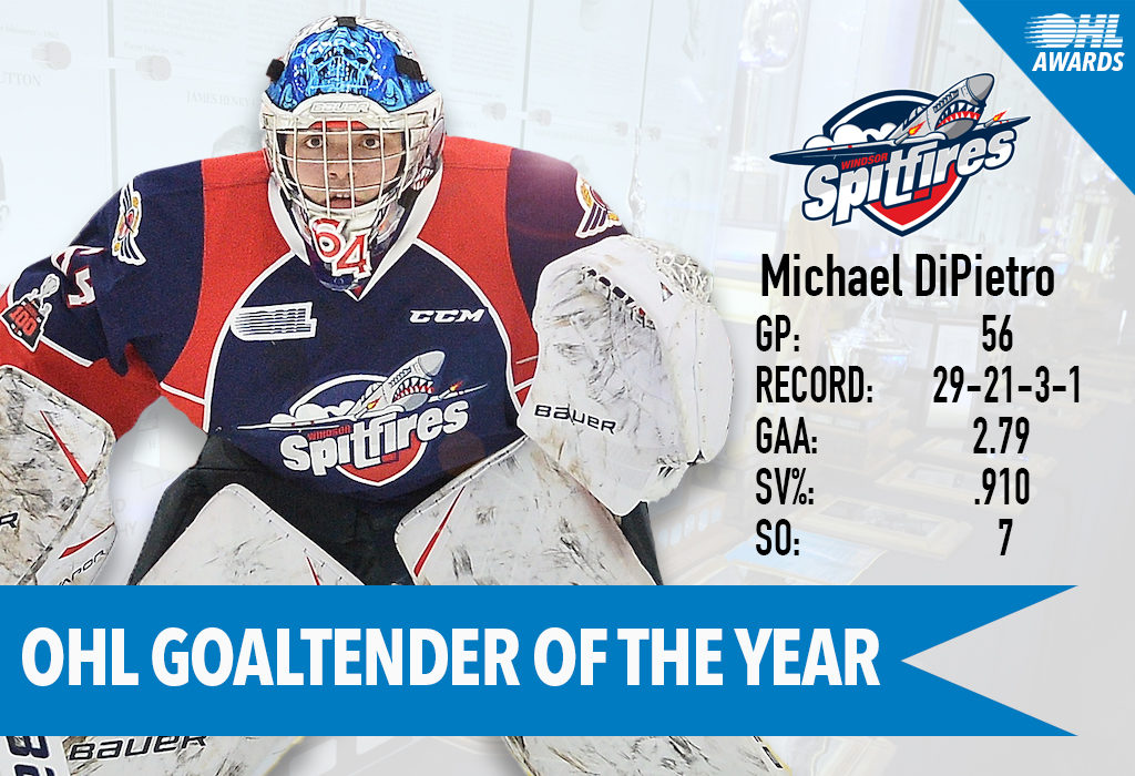 Spitfires Michael Dipietro Named Ohl Goaltender Of The Year