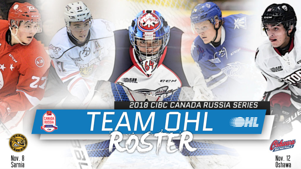 Team Ohl Roster For 2018 Cibc Canada Russia Series Ontario Hockey