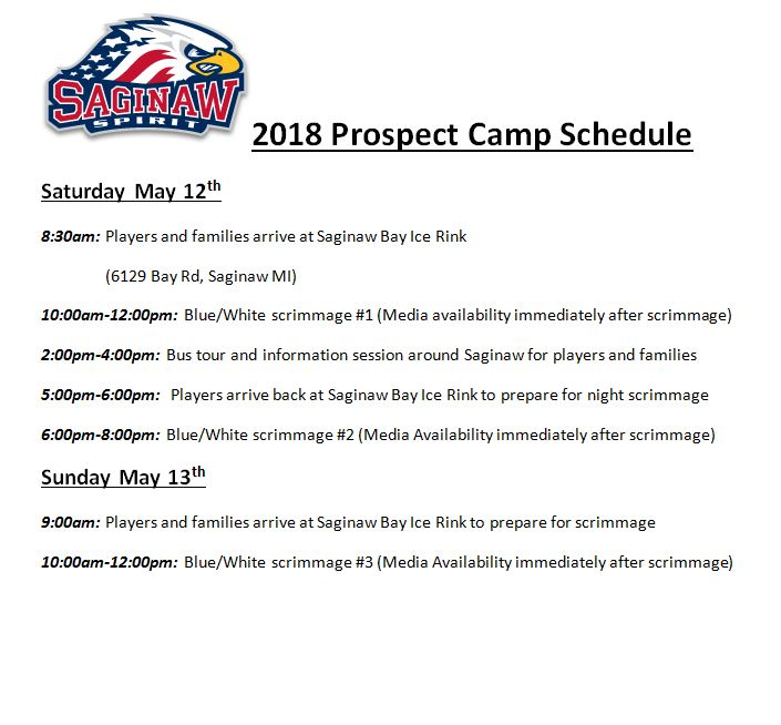 2018 Prospect Camp Schedule for Media