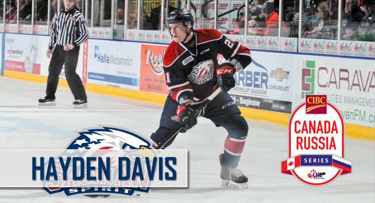 Hayden Davis named to Team OHL Roster for 2018 CIBC Canada