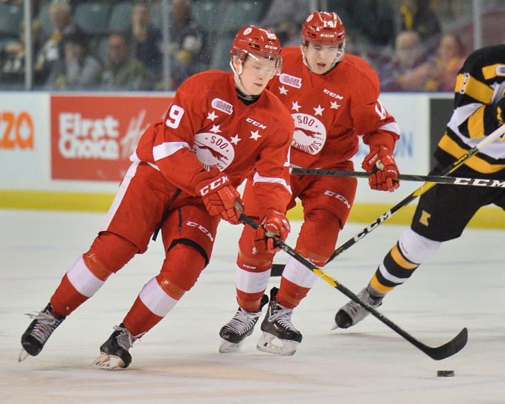 Joe Carroll of the Sault Ste. Marie Grehounds. Photo by Terry Wilson / OHL Images.