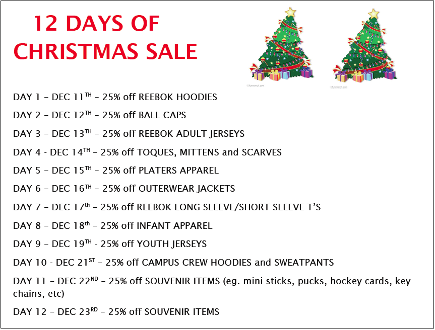 12 Days Of Christmas.Attack Holiday Hours 12 Days Of Christmas Sale Owen Sound